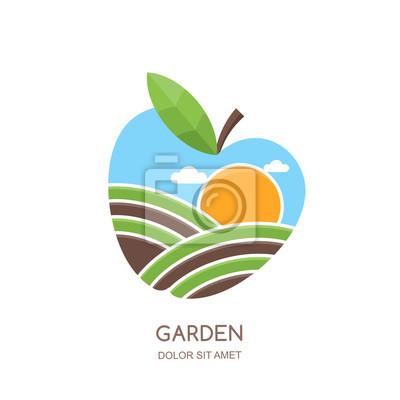 Obstgärten Und Landwirtschaft Vektor Logo Etikett Emblem