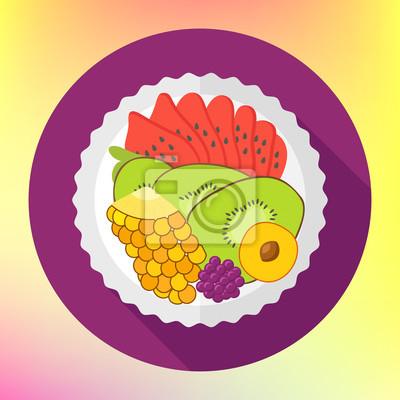 Obstsalat Flache Design Vektor Mit Kiwi Ananas Wassermelone