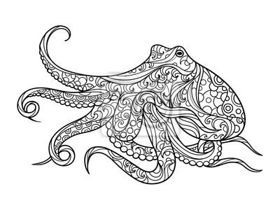 Octopus Ausmalbilder für Erwachsene Vektor