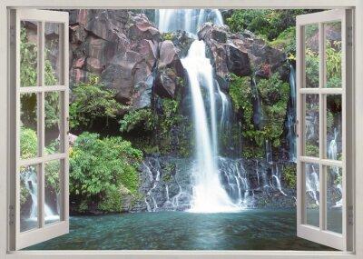 Fototapete Offene Fenster Blick auf Cormoran Wasserfall, La Réunion