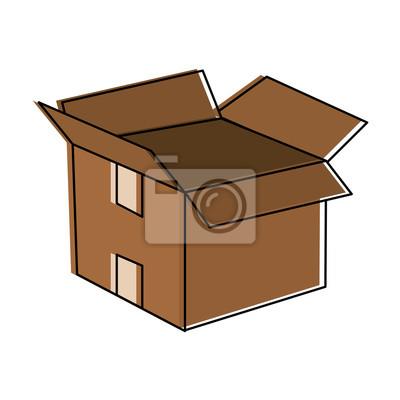 Karton Design | Offene Karton Symbol Bild Vektor Illustration Design Fototapete