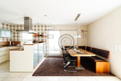 Offene küche mit essbereich fototapete • fototapeten ...