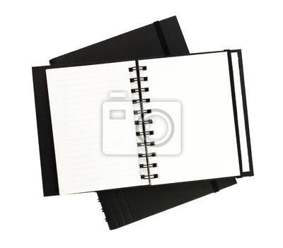 Offene Notebook auf weißem Hintergrund isolieren
