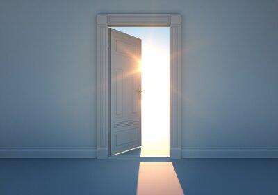 Fototapete Offene Tür mit Sonnenlicht