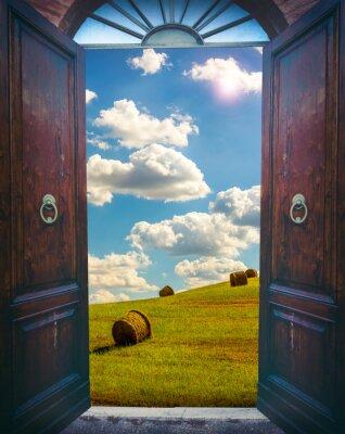 Fototapete Offene Tür und Landschaft