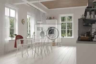 Offene Weissen Kuche Und Esszimmer Innenraum Fototapete Fototapeten