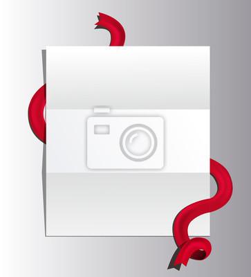 Offener brief mit rotem band band. papier-vorlage isoliert ...