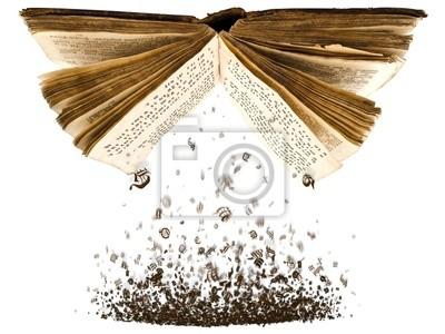 offenes Buch mit Zeichen