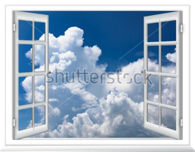 Fototapete offenes Fenster Blick auf den Himmel mit Wolken Sonnenaufgang