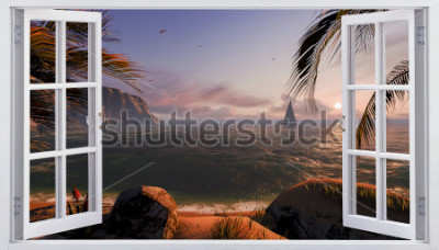 Fototapete Offenes Fenster mit Meerblick