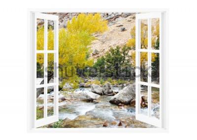 Fototapete Offenes Fenster mit schöner Natur auf einem Hintergrund