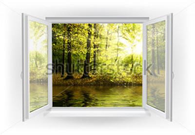 Fototapete Offenes Fenster mit Wald auf einem Hintergrund
