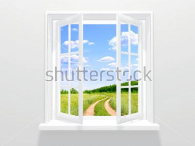 Fototapete Offenes Fenster und alte Straße