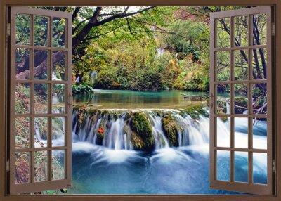 Fototapete Offenes Fenster zum Wasserstrom