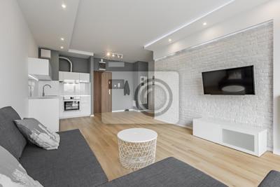 Fototapete: Offenes wohnzimmer mit küche