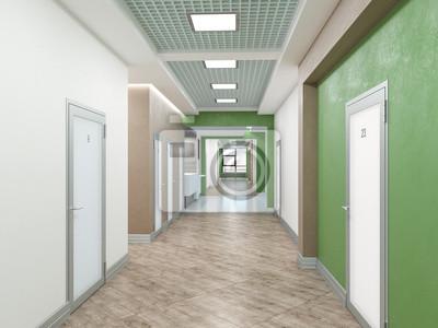 Öffentliches interieur 3d-rendering. fototapete • fototapeten Flur ...