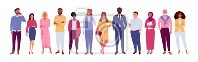 Fototapete Office multinational team. Vector illustration of diverse cartoon men and women of various races, ages and body type. Isolated on white.