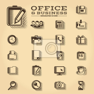 Office und Business gravierte Symbole gesetzt