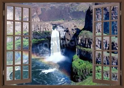 Fototapete Öffnen Sie die Fensteransicht zum Wasserfall