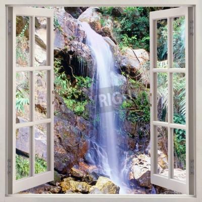 Fototapete Öffnen Sie die Fensteransicht zur kleinen Wasserkaskade