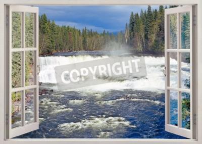 Fototapete Öffnen Sie Fensteransicht zu Dawson Falls, Murtle River, Wells Gray Provincial Park, British Columbia, Kanada