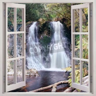 Fototapete Öffnen Sie Fensteransicht zu den Hogarth Fällen - ein angenehmer kleiner Wasserfall, der im Park der Leute s in der malerischen Küstengemeinde von Strahan, Tasmanien, Australien gelegen ist