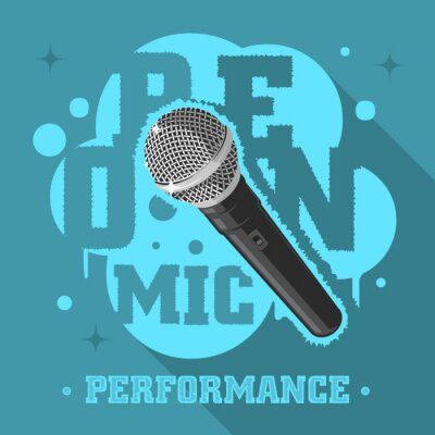 Öffnen Sie Mic Performance. Mikrofon-vektorabbildung.