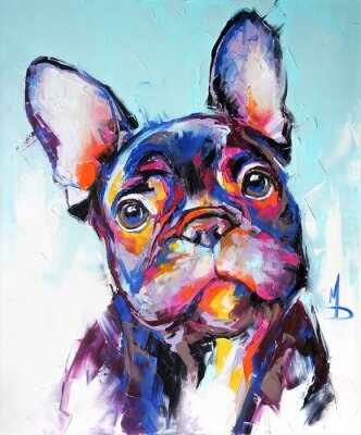 Fototapete Oil dog portrait painting in multicolored tones. Conceptual abstract painting of a french bulldog muzzle. Closeup of a painting by oil and palette knife on canvas.