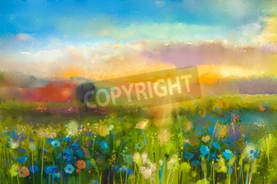 Fototapete Oil painting  flowers dandelion, cornflower, daisy in fields. Sunset  meadow landscape with wildflower, hill and sky in orange and blue color background. Hand Paint summer floral Impressionist style