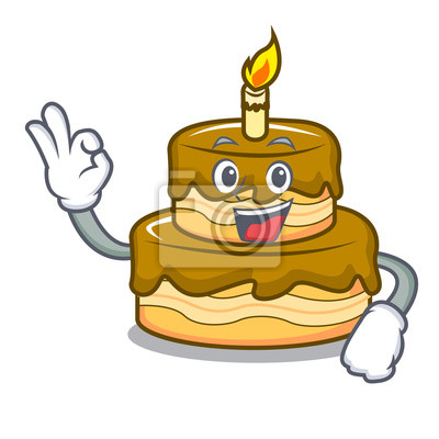 Fototapete Okay Birthday Cake Character Cartoon