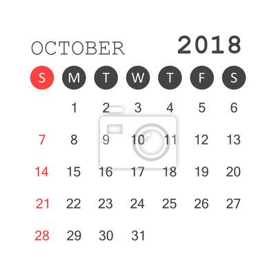Oktober 2018 kalender. kalenderplaner-design-vorlage. die woche ...