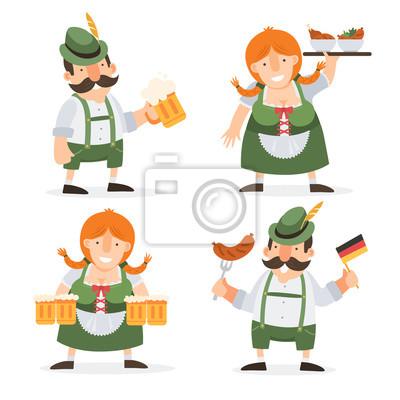 Oktoberfest lustige comicfiguren in volkskostümen von bayern fototapete •  fototapeten Brezel, bayerischen, Oktoberfest | myloview.de