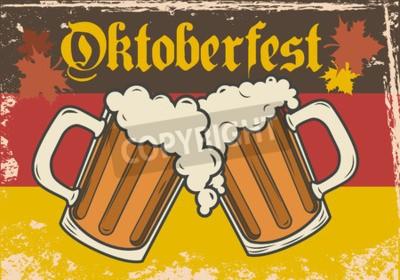 Fototapete Oktoberfest-Vektor-Illustration. Zwei Bierkrüge auf dem Hintergrund der Flagge von Deutschland.