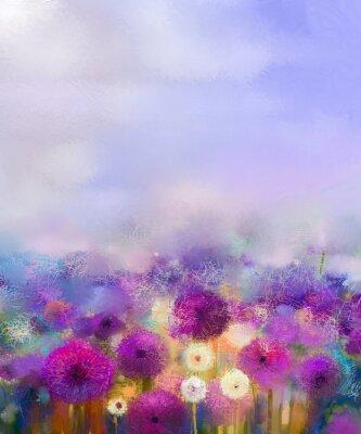 Fototapete Öl Malerei Lila Zwiebel Mit Weißen Löwenzahn Blumen In Der  Wiese. Zusammenfassung Malerei