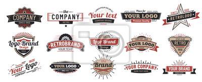 Fototapete Old badges. Vintage sign, retro premium badge and logo emblem frame vector set