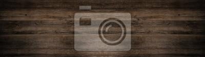 Fototapete old brown rustic dark wooden texture - wood background panorama long banner