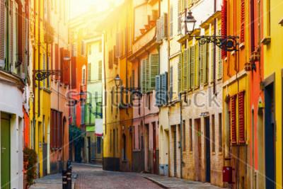 Fototapete Old colorful street in Parma, Emilia-Romagna, Italy