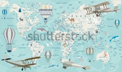 Fototapete Old geography travel map with regional animals and aircrafts. Vector.