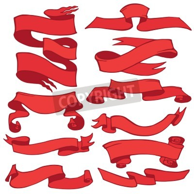 Old Red Ribbon Banner For Holiday Decoration Scrapbook Design