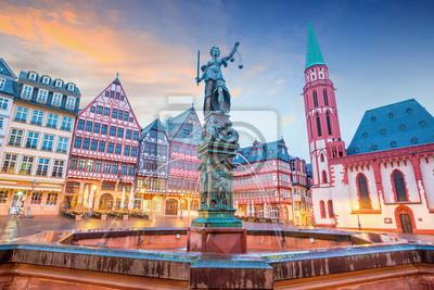 Fototapete Old town square romerberg in Frankfurt, Germany