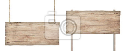 Fototapete old weathered light wood sign isolated on white background