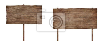 Fototapete old weathered wood sign isolated on white background 4