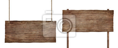 Fototapete old weathered wood sign isolated on white background