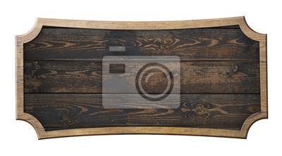 Fototapete old wooden sign isolated 3d illustration