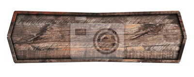Fototapete Old wooden sign isolated on white