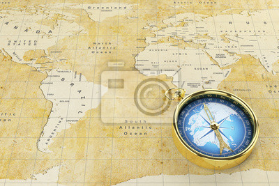 Old world map and antique compass. fototapete • fototapeten tour ...