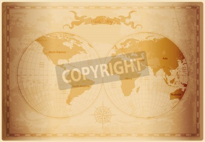 Fototapete: Old world map with vintage paper texture vector format