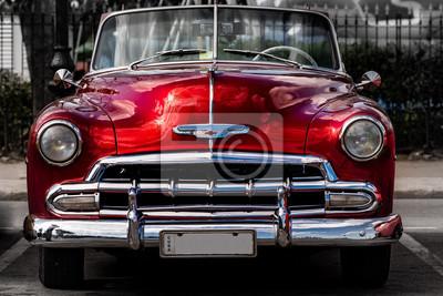 Fototapete Oldtimer in Havanna Kuba rot