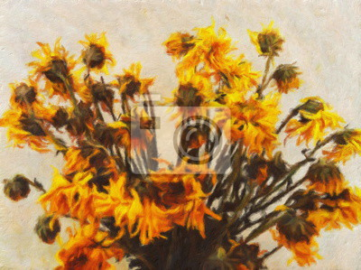Ölgemälde alte Sonnenblume / Fotoeffekt Ölgemälde