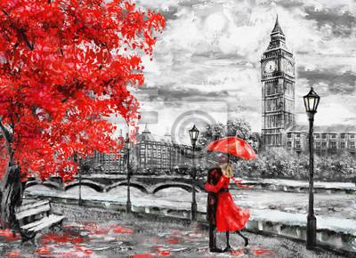 Fototapete Ölgemälde auf Segeltuch, Straße von London. Kunstwerk. Big Ben. Mann und Frau unter einem roten Regenschirm. Baum. England. Brücke und Fluss